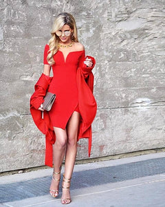 Red Slash Neck Short Sleeve Bodycon Bandage Dress