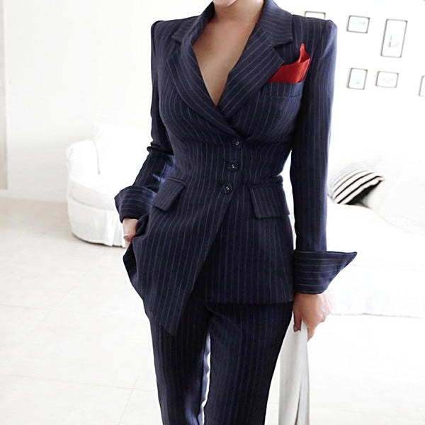 Irregular Striped Business Suits