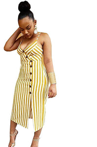 Yellow Spaghetti Strap V-Neck Striped Print Dress