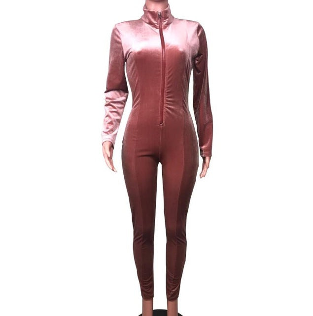 Sexy Velvet Long Sleeve One Piece Jumpsuit