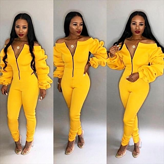 Casual Zipper Front Slash Neck Off Shoulder Long Puff Sleeve Jumpsuit