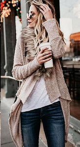 Casual Cardigans Faux Fur Long Sleeve Knitted Sweater