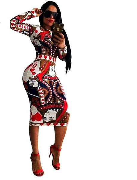Colorful Printing Sexy Pencil Scoop Neck Long Sleeve Club Party Dress
