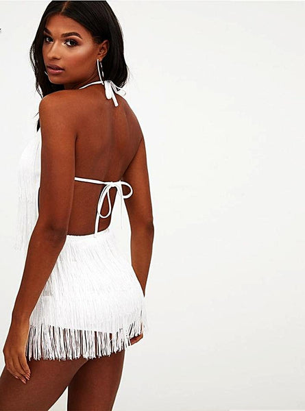 White Halter Backless Tassels Bandage Fringe Dress