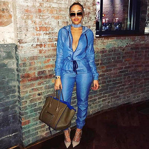 Loose Long Sleeve Denim Hooded Collar Jumpsuit