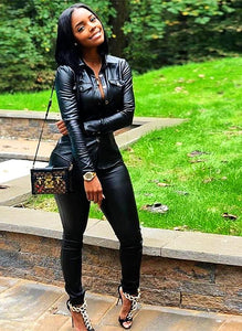 Two piece Black Leather Turn Down Collar Top and Bodycon Pant Set