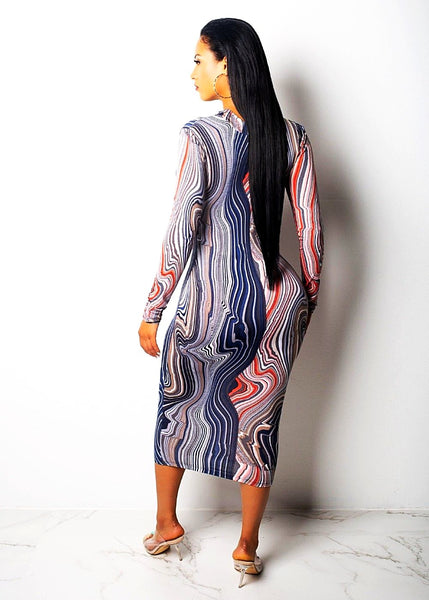 Deep V Neck Print Sheath Full Sleeve Dress