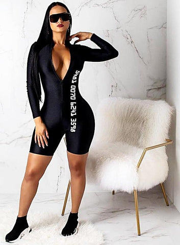 Casual Long Sleeve Front Zipper Rompers