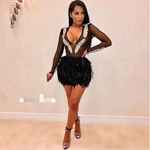 High Quality Black Long Mesh Sleeve Mantual Beading Feather Bandage Dress