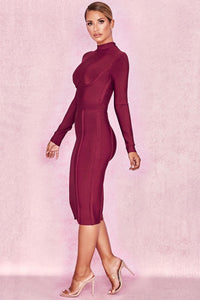 Celebrity  Top Quality Wine Red Long Sleeve Knee Length Rayon Bandage Dress