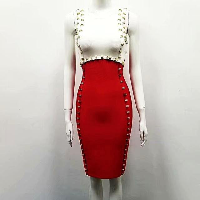 High Quality White and Red Patchwork Sleeveless Rayon Bandage Dress