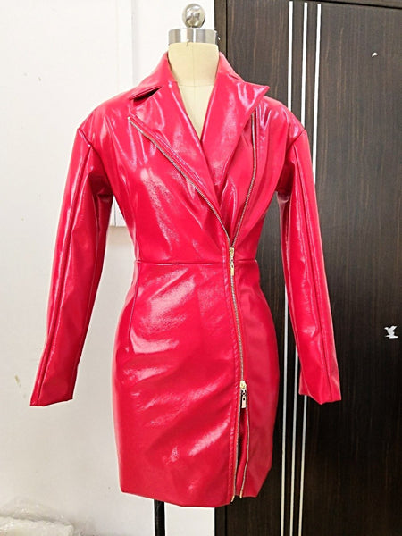 High Quality Red Long Sleeve Front Zipper Leather Sexy Mini Dress