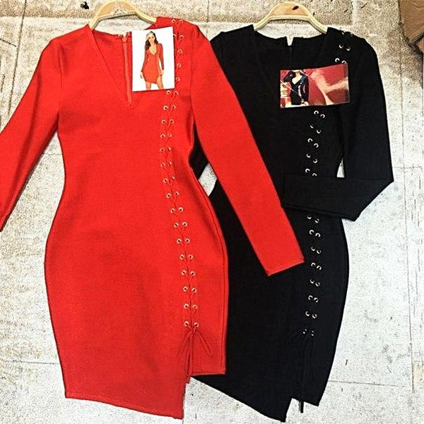 Top Quality Sexy Long Sleeve Weaving Rayon Bandage Dress Celebrity Party Dress
