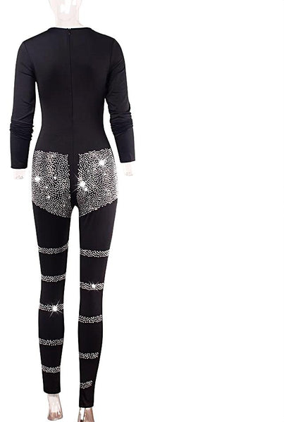 Sequin Diamond Geometry Long Sleeve Round Neck One Piece Jumpsuit