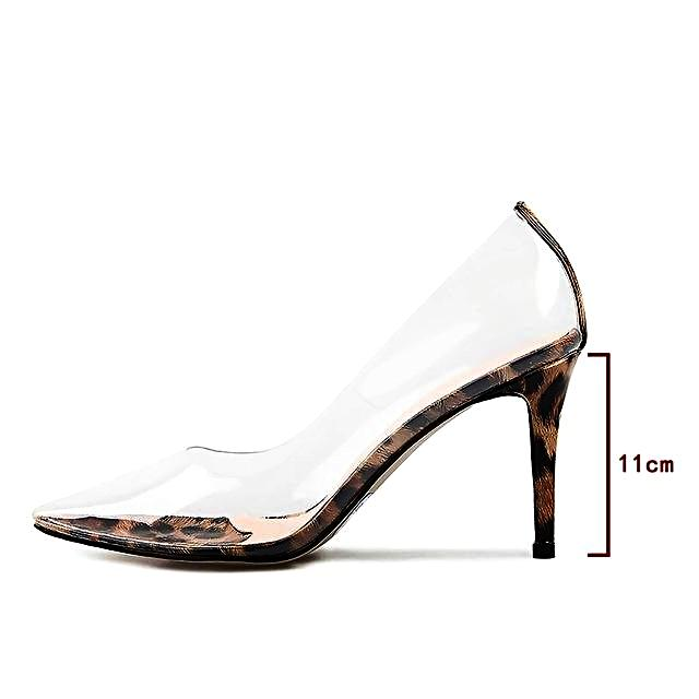 PVC Clear  Leopard Pointed Toe High Heel Pumps