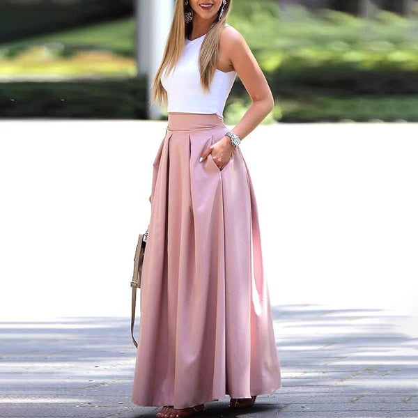 Elegant Two-Piece Sleeveless Cropped Top & Pleated Maxi Skirt Sets
