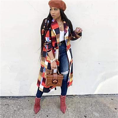 Colorful Plaid Double Breasted Casual Wool Jacket