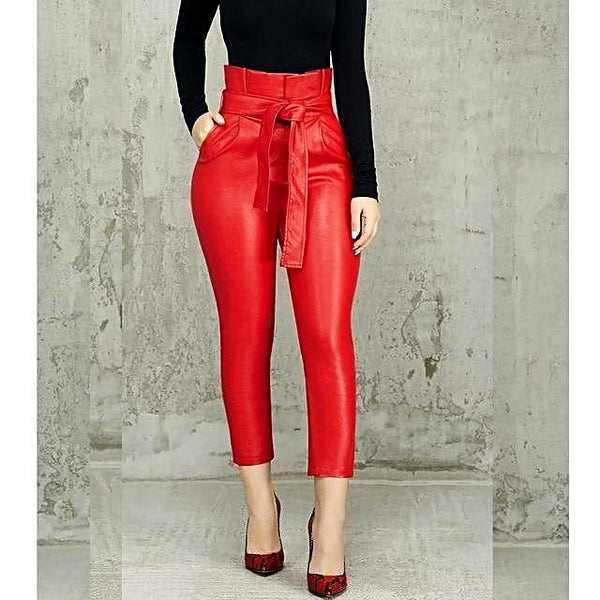 Elegant High Waist Casual Leather Pants