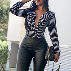 Casual Long Sleeve Female Vertical Stripes Plunge Lapel Neck Blouse