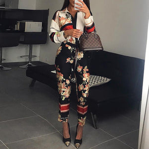 Elegant Floral Print Turn-Down Neck Long Sleeve Jumpsuit
