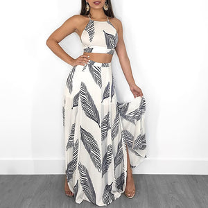 Leaf Print Backless Crop Top Split Maxi Skirt Set