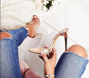 PVC Champagne High Heel Sandals