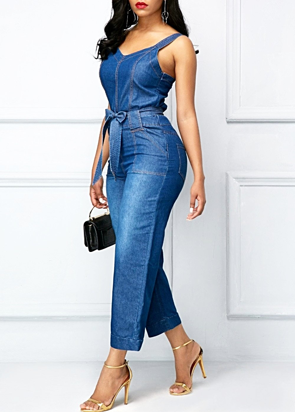 Denim Wide Leg Spaghetti Strap Bodycon Jumpsuit