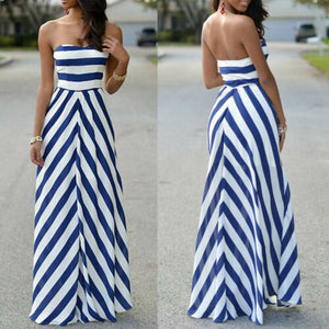Off Shoulder Striped Maxi Sundress