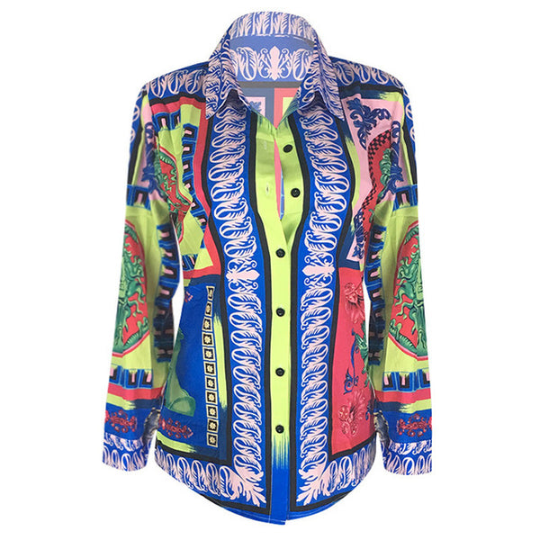 Colorful Printed Long Sleeve Blouse