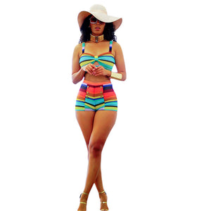 Rainbow Wave Striped Two Piece Swimsuit