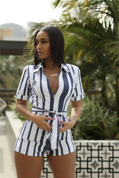 Striped Turn Down Collar Short Sleeve Romper