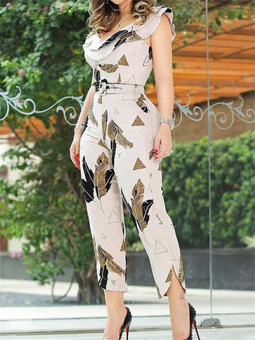 Elegant Sleeveless V-Neck Casual Leaf Print Jumpsuit