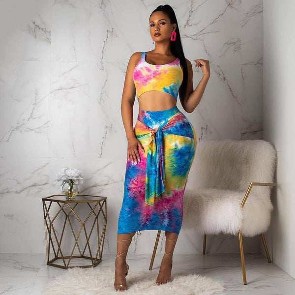 Rainbow Tie Dye Sexy Two O Neck Sleeveless Crop Top+Bodycon Skirt Set