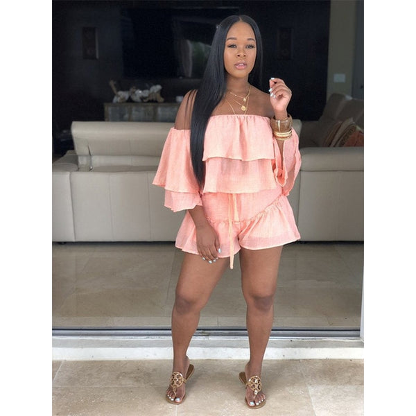 Sexy Two Piece Slash Neck Ruffles Sleeve Crop Top Shorts Set