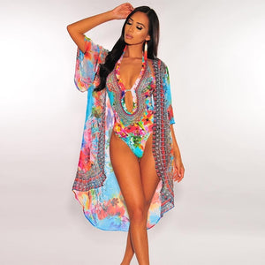 Floral Print 2 Piece Deep V Neck Cut Out Skinny Swimsuit  And Long  Sleeve Open Stitch Chiffon Set