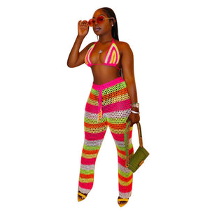 Rainbow Striped Fishnet Hollow Halter Backless Crop Top And See Through  Long Pants Set
