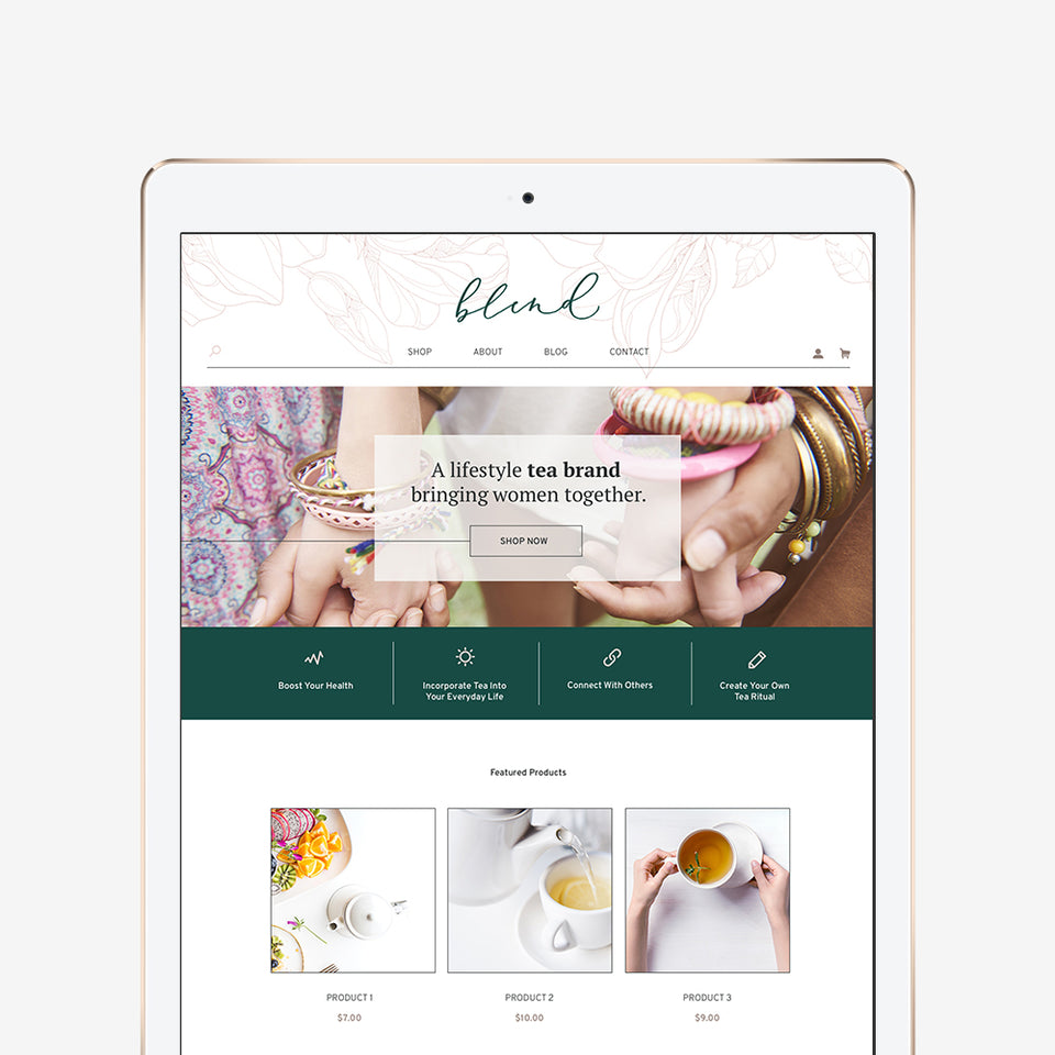 iPad mockup for lifestyle tea brand website design
