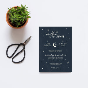 Modern calligraphy astrology invite design with stars and moon