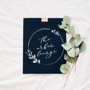 Modern calligraphy logo with watercolour greenery wreath