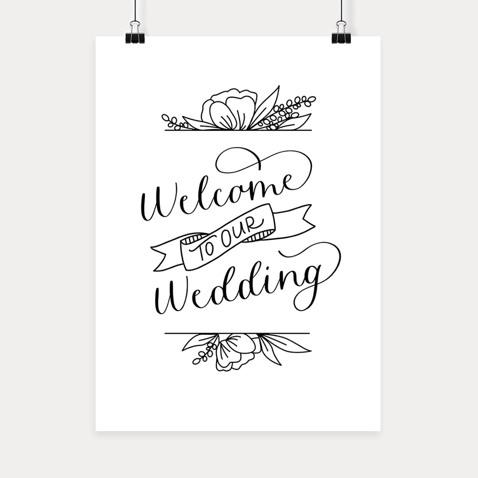 Modern calligraphy welcome to our wedding sign
