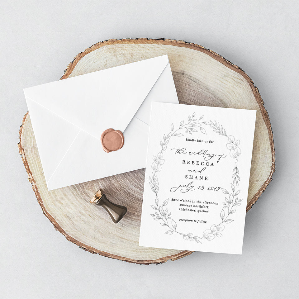 Modern calligraphy floral wedding invite design
