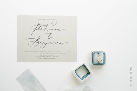 Modern calligraphy typography on wedding stationary