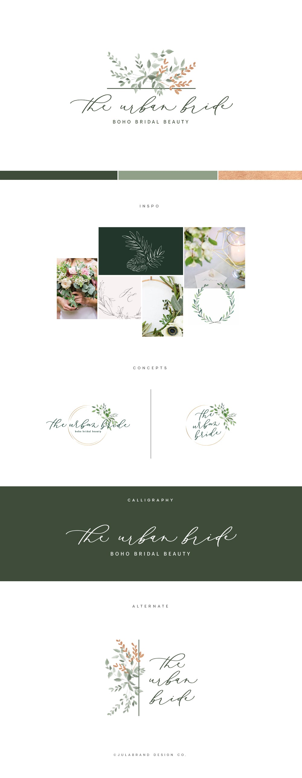 Brand map with modern calligraphy logo for boho bridal beauty business