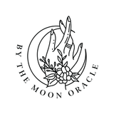 black moon hand and floral logo brand identity for by the moon oracle