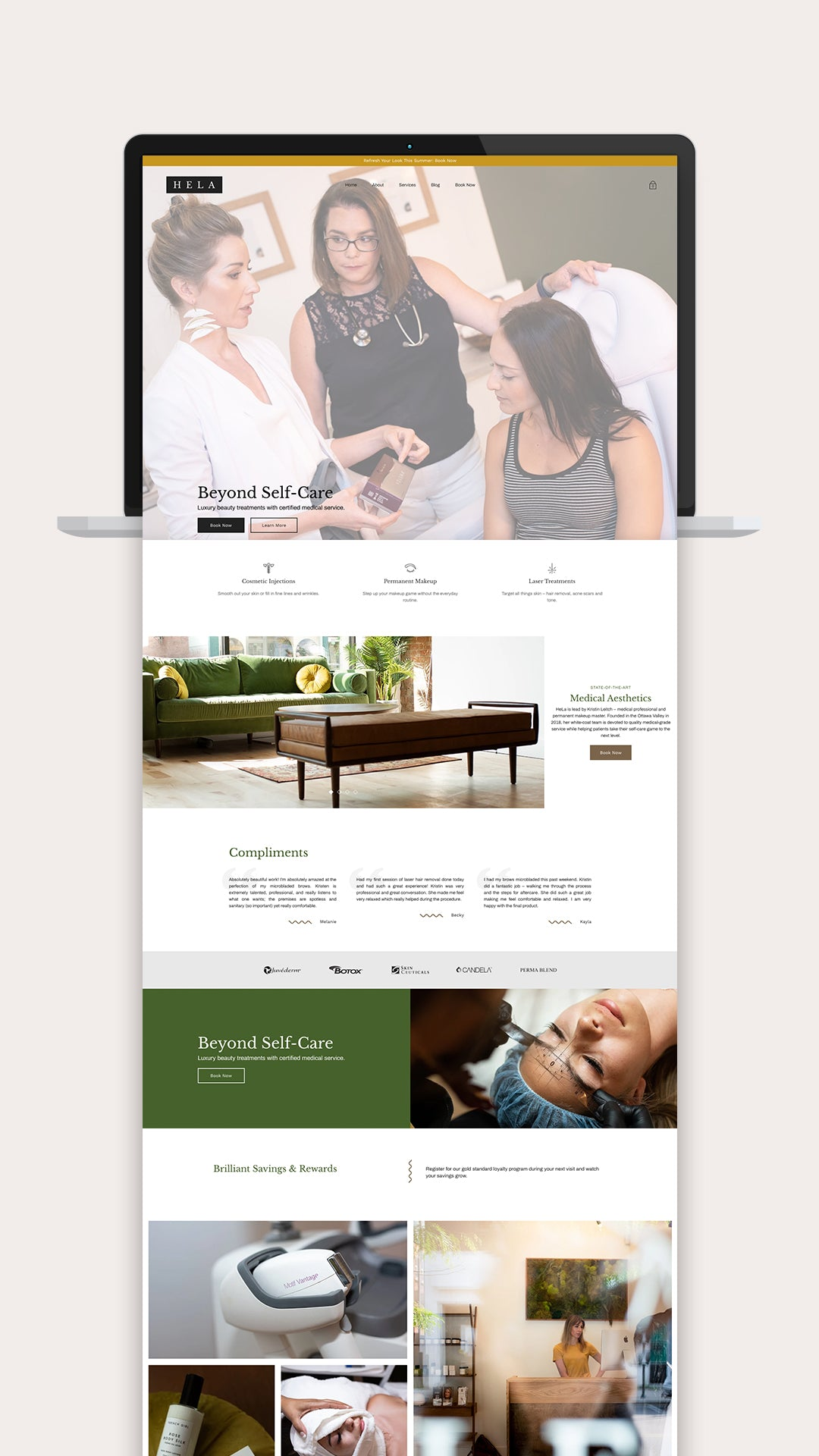shopify website design for hela beauty and medical in pembroke ontario