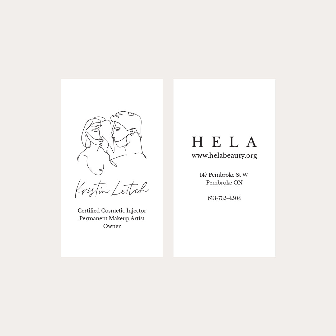 business card design for hela beauty and medical spa logo