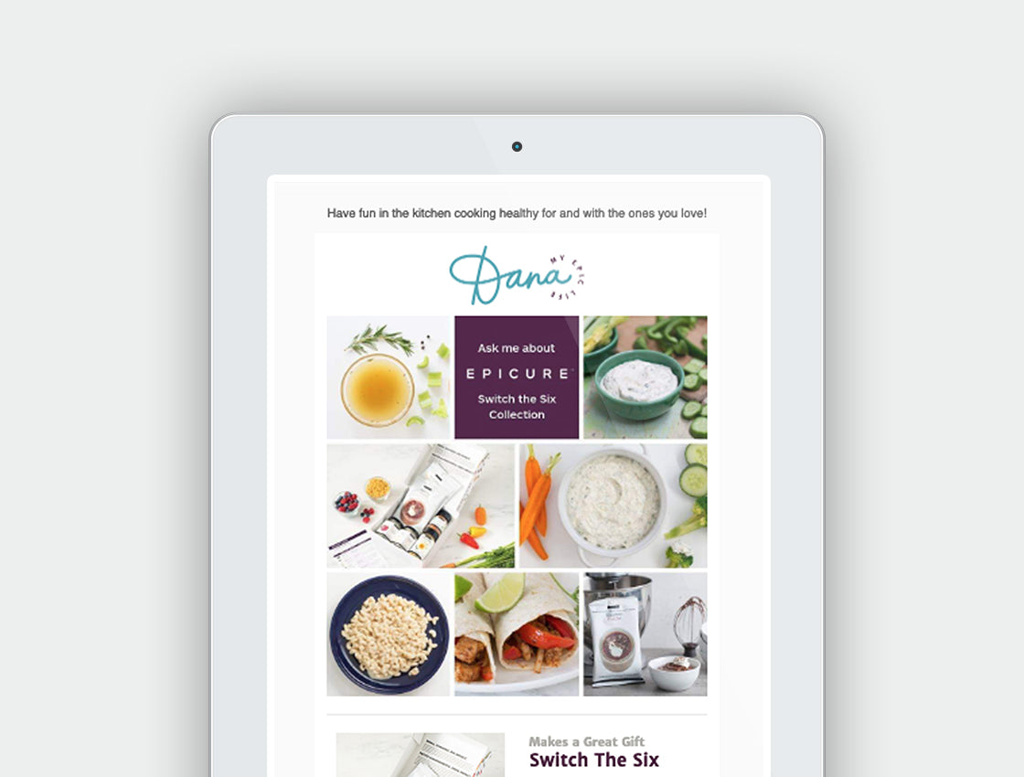 iPad mockup of email newsletter for Dana's Epicure