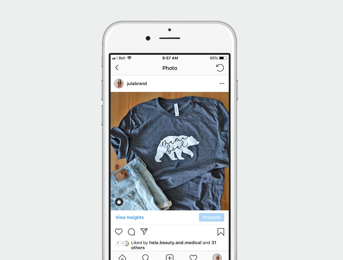 Iphone mockup with photo of modern calligraphy mama bear tshirt