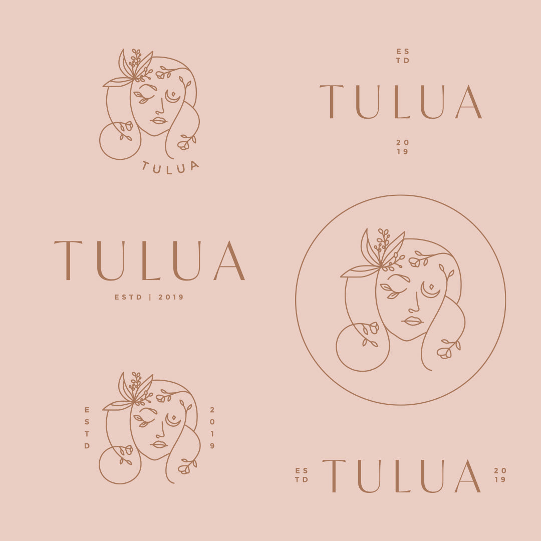 Logo design for tulua with face illustration with florals and serif font