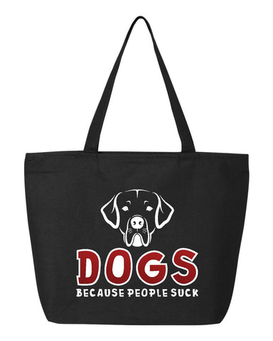 Dogs because people suck - OZRGD Logo- Zippered Canvas Tote